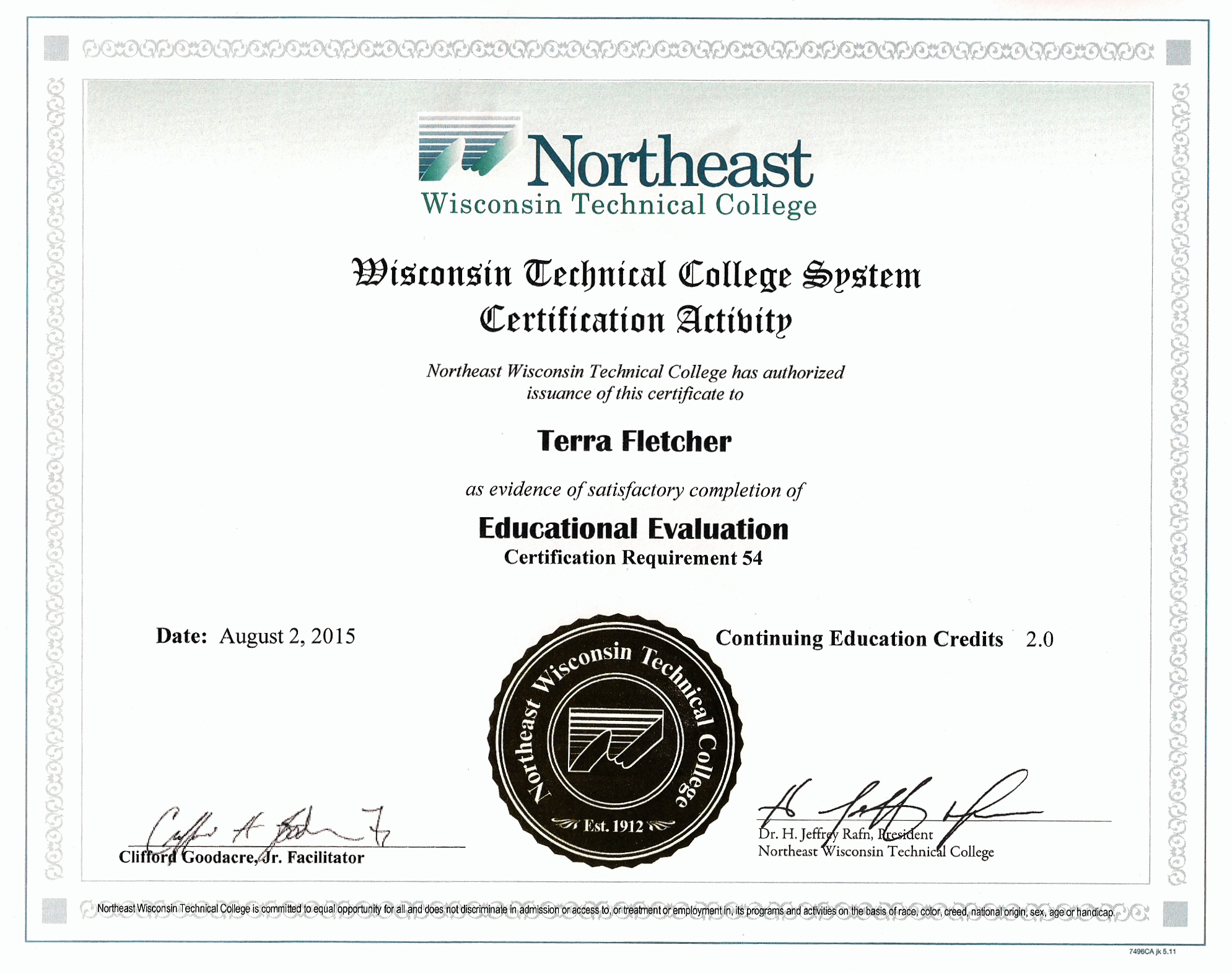 Terra Certified In Education Evaluation Fletcher Consulting